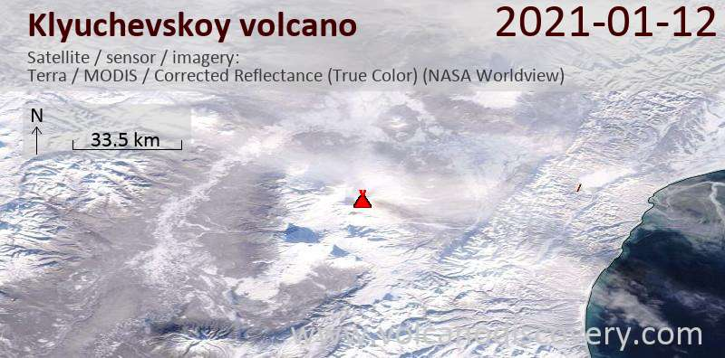 Satellite image of Klyuchevskoy volcano on 12 Jan 2021