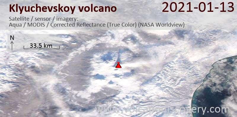 Спутниковое изображение вулкана Klyuchevskoy 13 Jan 2021