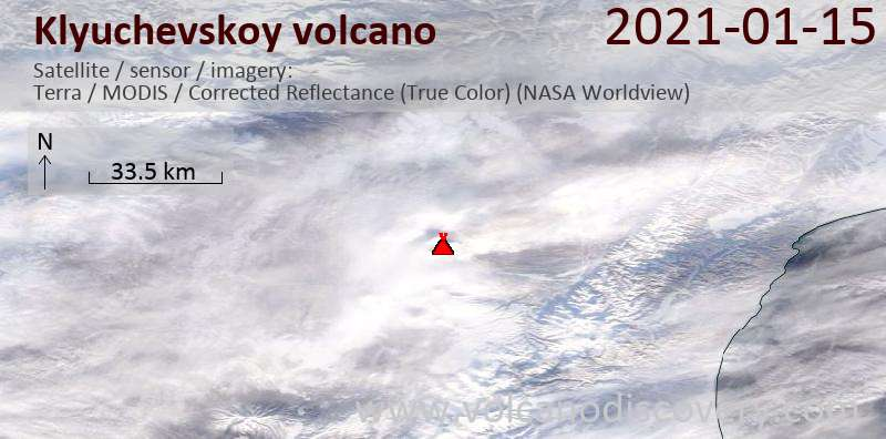 Satellitenbild des Klyuchevskoy Vulkans am 15 Jan 2021