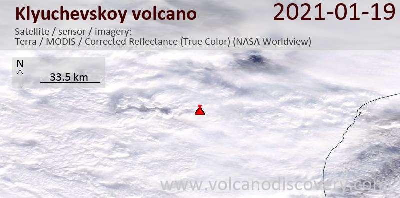 Satellitenbild des Klyuchevskoy Vulkans am 19 Jan 2021