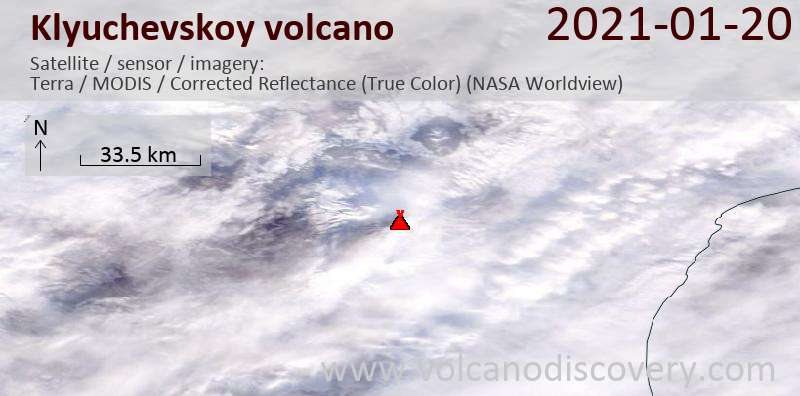 Satellitenbild des Klyuchevskoy Vulkans am 20 Jan 2021