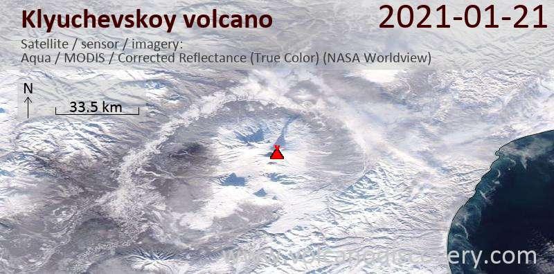 Спутниковое изображение вулкана Klyuchevskoy 21 Jan 2021