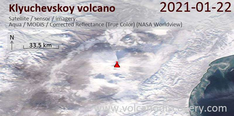 Satellitenbild des Klyuchevskoy Vulkans am 22 Jan 2021