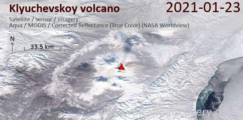 Satellite image of Klyuchevskoy volcano on 23 Jan 2021