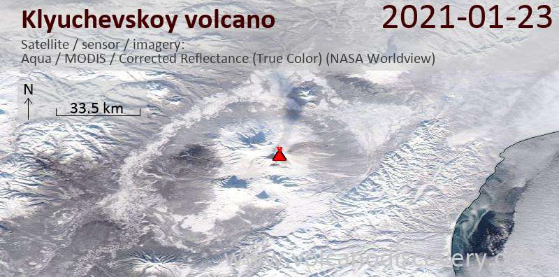 Satellitenbild des Klyuchevskoy Vulkans am 23 Jan 2021