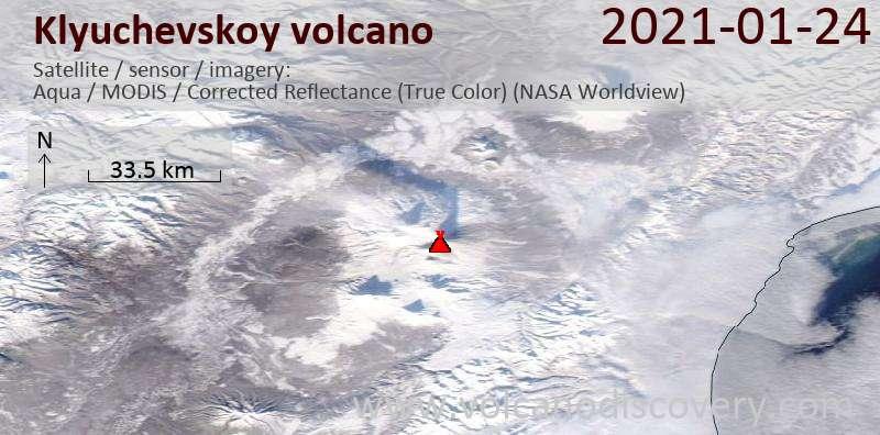 Satellite image of Klyuchevskoy volcano on 24 Jan 2021