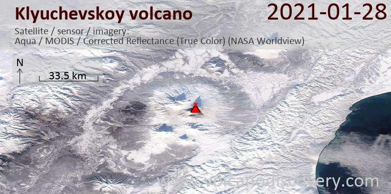 Satellitenbild des Klyuchevskoy Vulkans am 28 Jan 2021