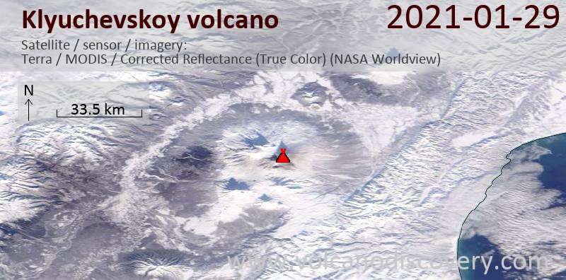 Satellite image of Klyuchevskoy volcano on 29 Jan 2021