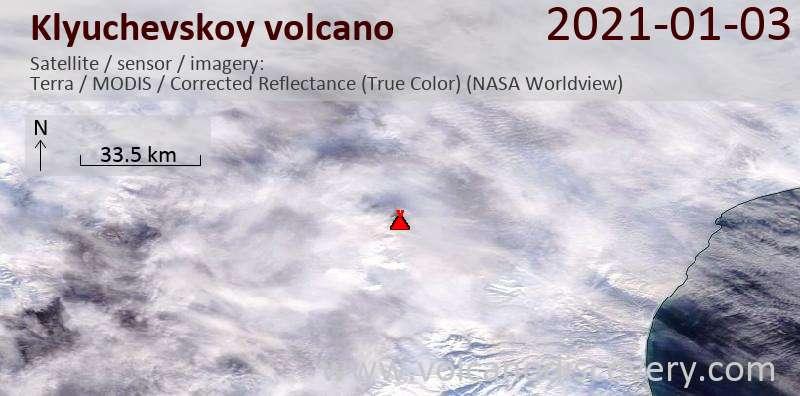 Satellite image of Klyuchevskoy volcano on  3 Jan 2021