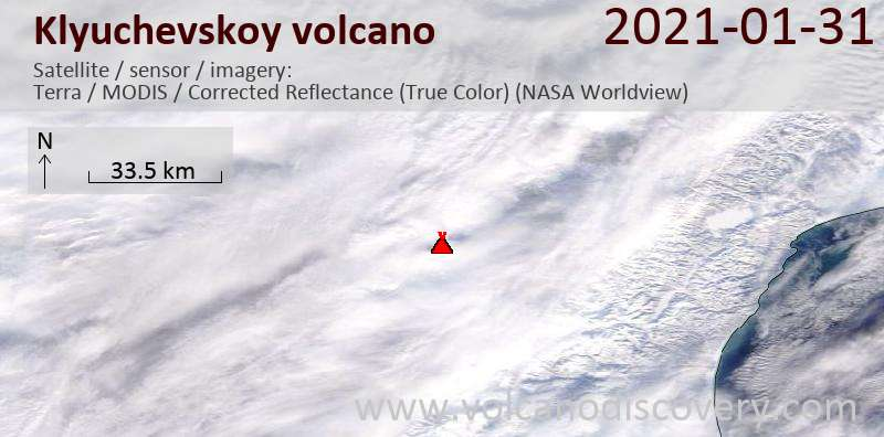 Satellitenbild des Klyuchevskoy Vulkans am 31 Jan 2021