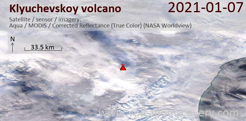 Satellitenbild des Klyuchevskoy Vulkans am  7 Jan 2021
