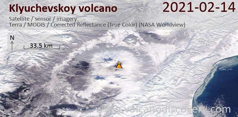 Satellite image of Klyuchevskoy volcano on 14 Feb 2021