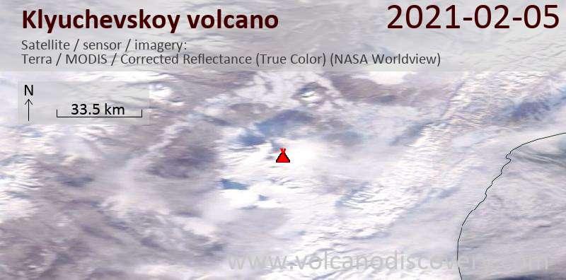 Satellite image of Klyuchevskoy volcano on  5 Feb 2021