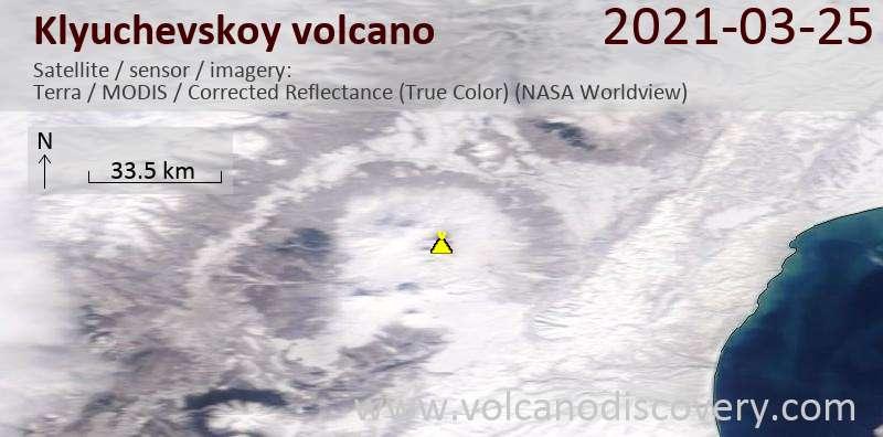 Спутниковое изображение вулкана Klyuchevskoy 25 Mar 2021