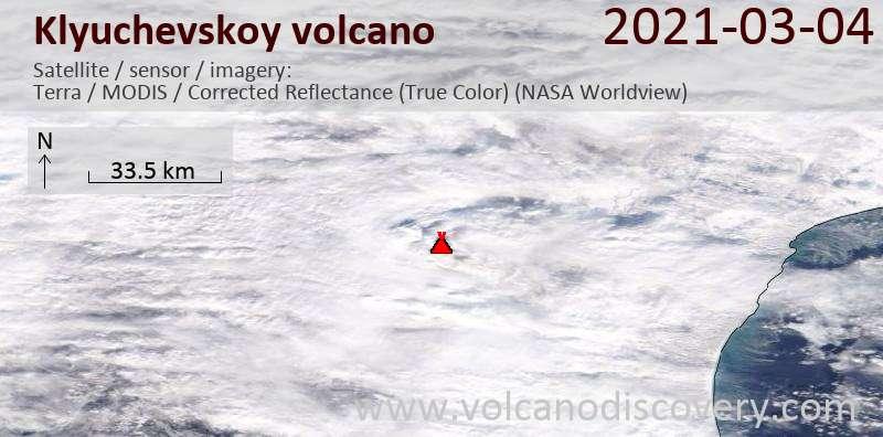 Satellite image of Klyuchevskoy volcano on  5 Mar 2021