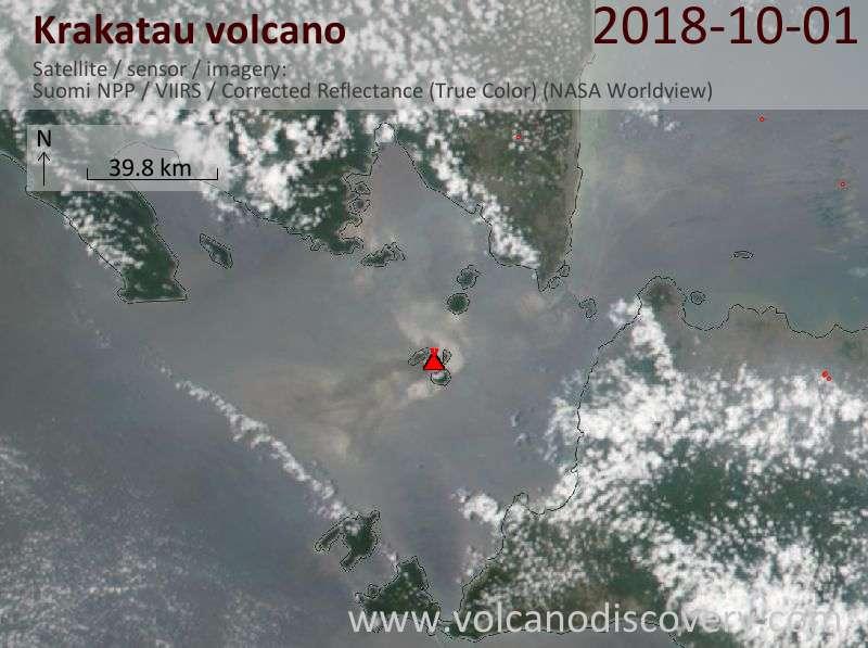 Satellite image of Krakatau volcano on  1 Oct 2018