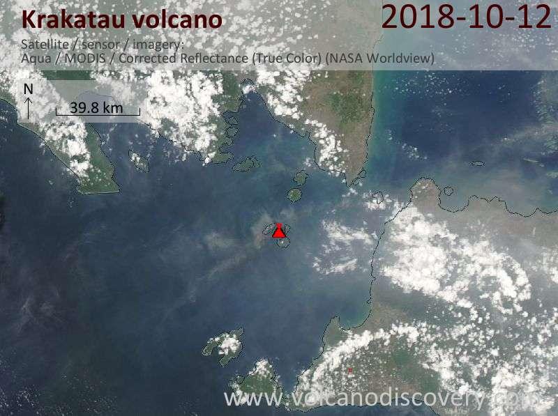 Satellite image of Krakatau volcano on 12 Oct 2018
