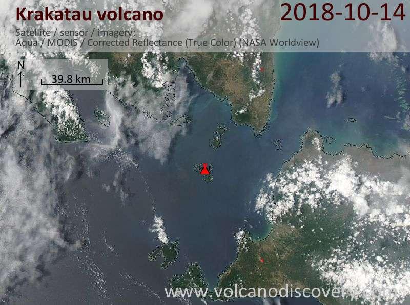 Satellite image of Krakatau volcano on 14 Oct 2018