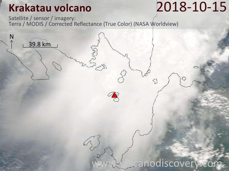 Satellite image of Krakatau volcano on 15 Oct 2018