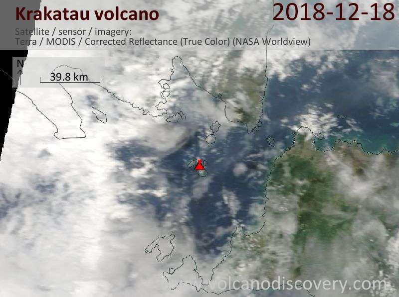 Satellite image of Krakatau volcano on 18 Dec 2018