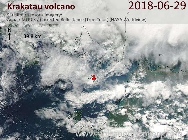 Satellite image of Krakatau volcano on 29 Jun 2018