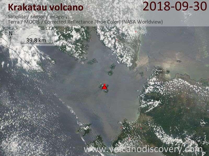 Satellite image of Krakatau volcano on 30 Sep 2018