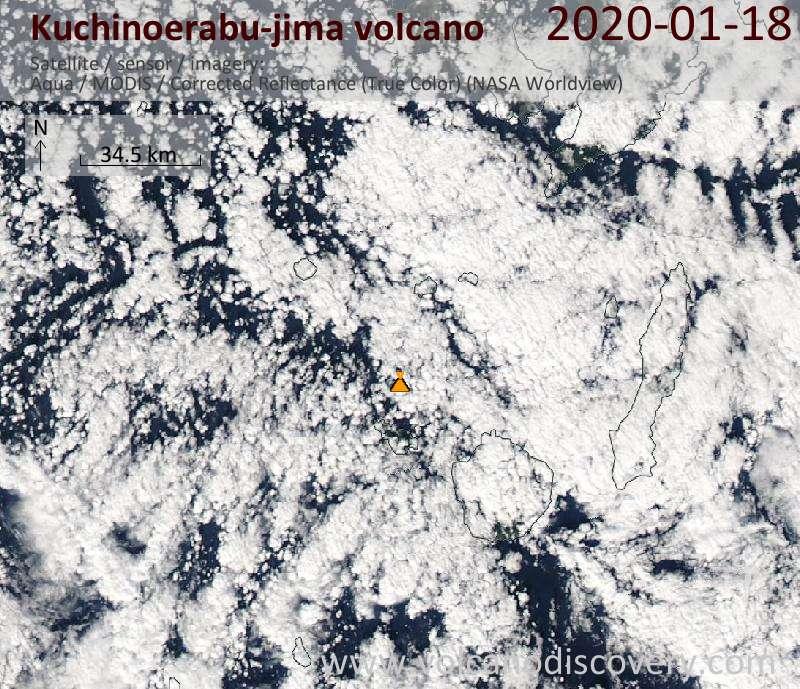 Satellite image of Kuchinoerabu-jima volcano on 18 Jan 2020