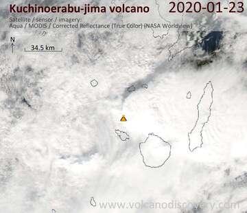 Satellite image of Kuchinoerabu-jima volcano on 23 Jan 2020
