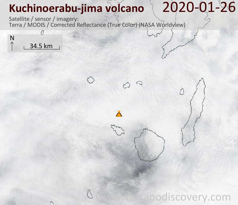 Satellite image of Kuchinoerabu-jima volcano on 26 Jan 2020