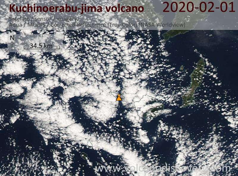 Satellite image of Kuchinoerabu-jima volcano on  1 Feb 2020