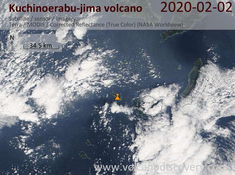 Satellite image of Kuchinoerabu-jima volcano on  2 Feb 2020