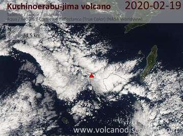 Satellite image of Kuchinoerabu-jima volcano on 20 Feb 2020