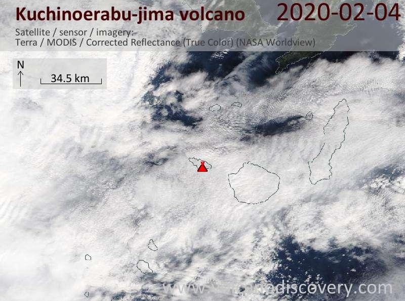 Satellite image of Kuchinoerabu-jima volcano on  4 Feb 2020