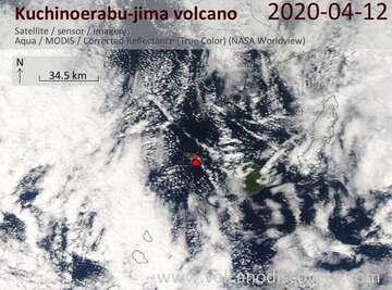 Satellite image of Kuchinoerabu-jima volcano on 12 Apr 2020