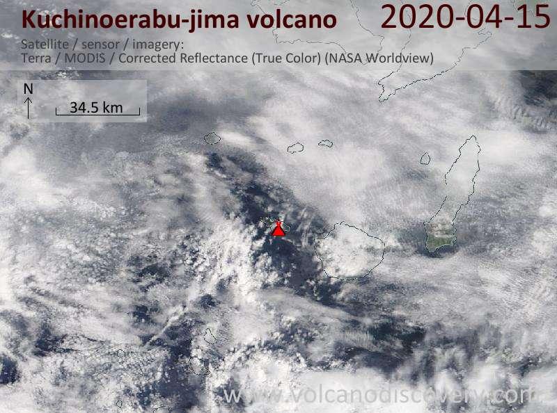 Satellite image of Kuchinoerabu-jima volcano on 15 Apr 2020