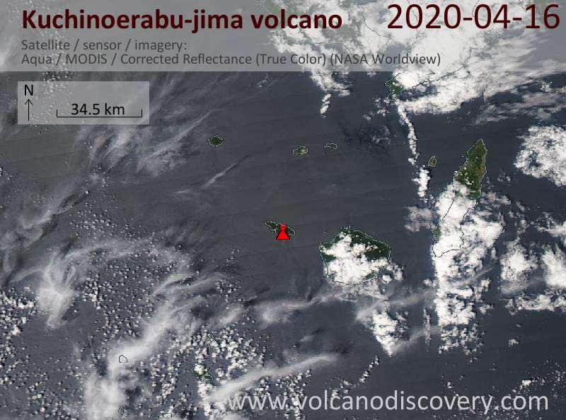 Satellite image of Kuchinoerabu-jima volcano on 16 Apr 2020