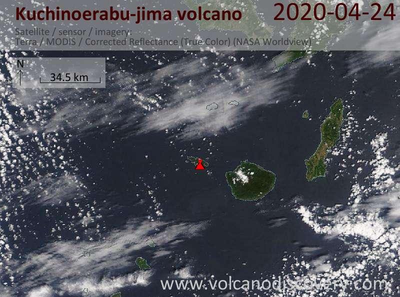 Satellite image of Kuchinoerabu-jima volcano on 24 Apr 2020
