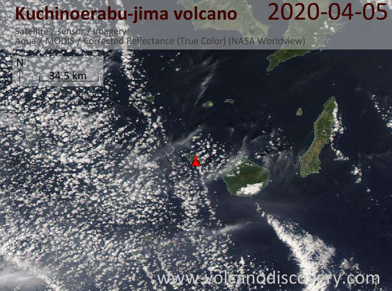 Satellite image of Kuchinoerabu-jima volcano on  5 Apr 2020