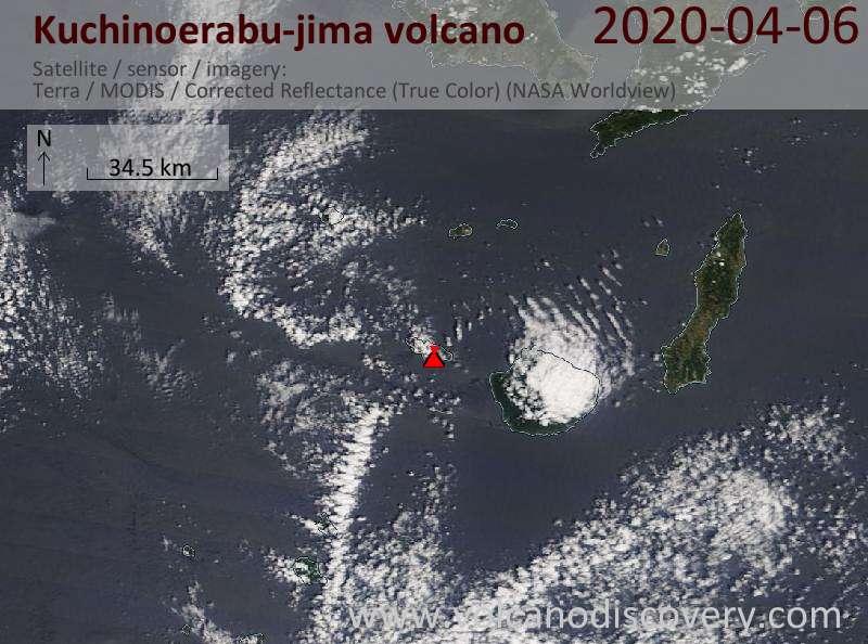 Satellite image of Kuchinoerabu-jima volcano on  6 Apr 2020