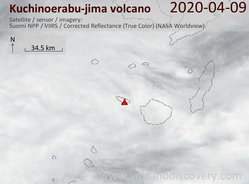 Satellite image of Kuchinoerabu-jima volcano on  9 Apr 2020