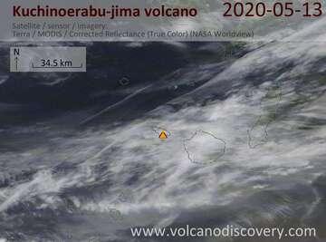 Satellite image of Kuchinoerabu-jima volcano on 13 May 2020