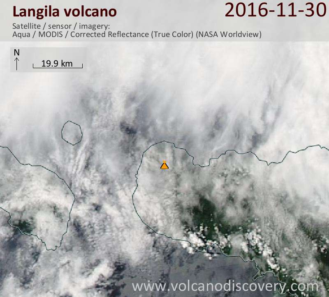 Satellite image of Langila volcano on 30 Nov 2016