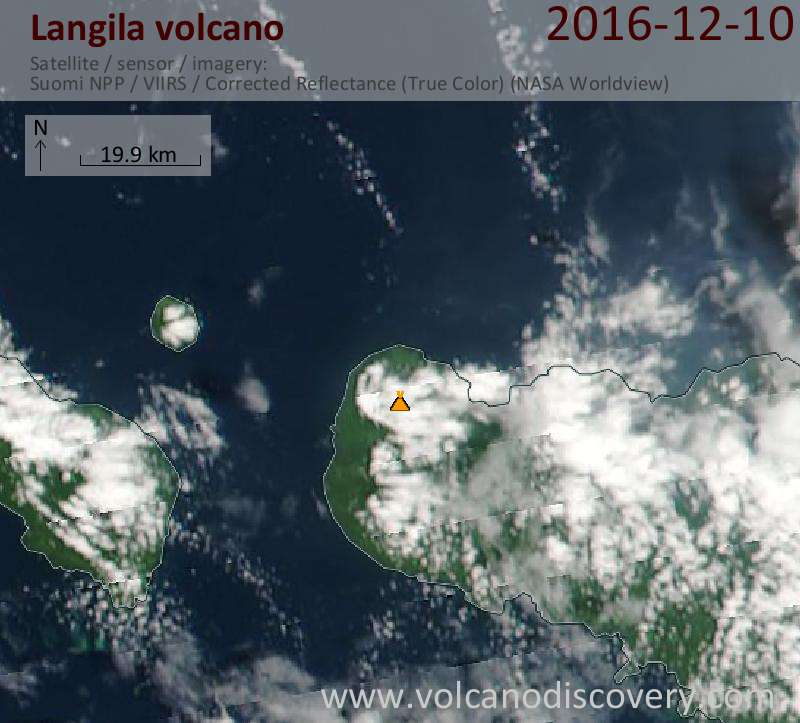 Satellite image of Langila volcano on 10 Dec 2016