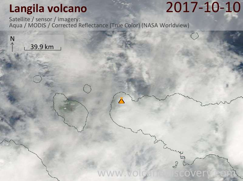 Satellite image of Langila volcano on 10 Oct 2017