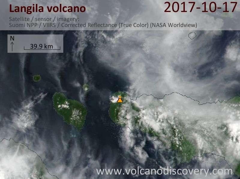 Satellite image of Langila volcano on 18 Oct 2017