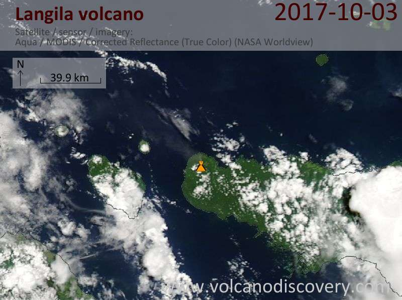 Satellite image of Langila volcano on  3 Oct 2017