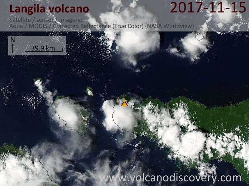 Satellite image of Langila volcano on 15 Nov 2017