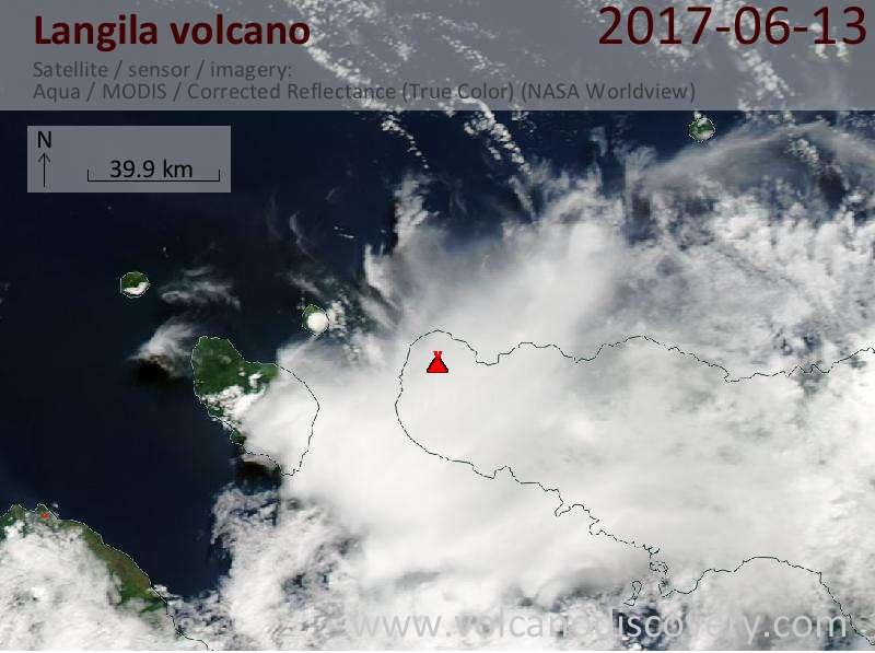 Satellite image of Langila volcano on 13 Jun 2017