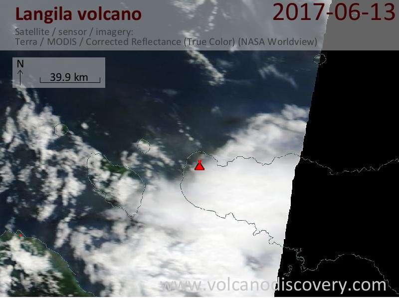 Satellite image of Langila volcano on 20 Jun 2017