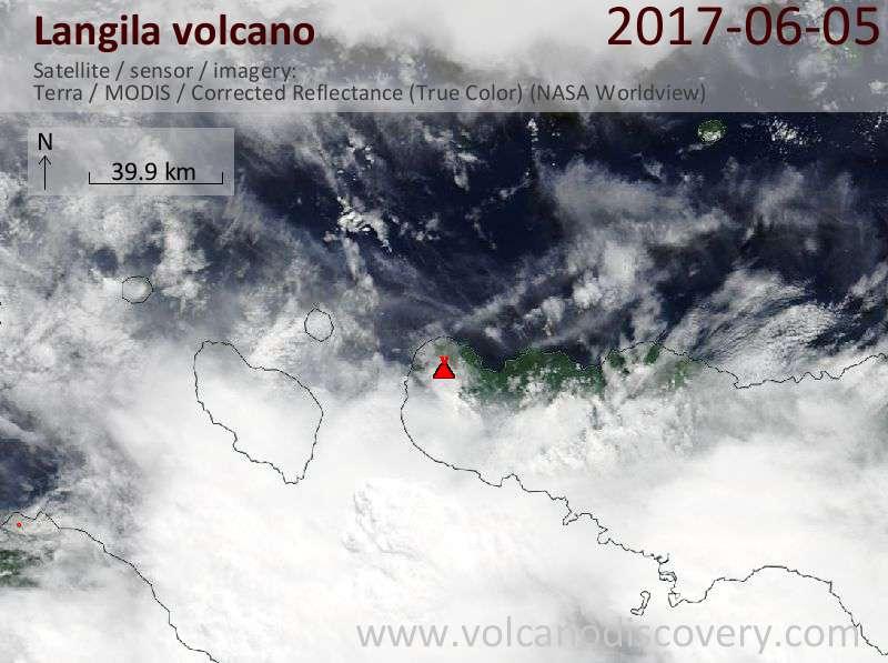 Satellite image of Langila volcano on  5 Jun 2017